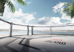3D MMA arena. Fight island. Fighting Championship. Location of the MMA tournament on the Yas island Abu Dhabi. 3D illustration. Octagon on the island. Panorama